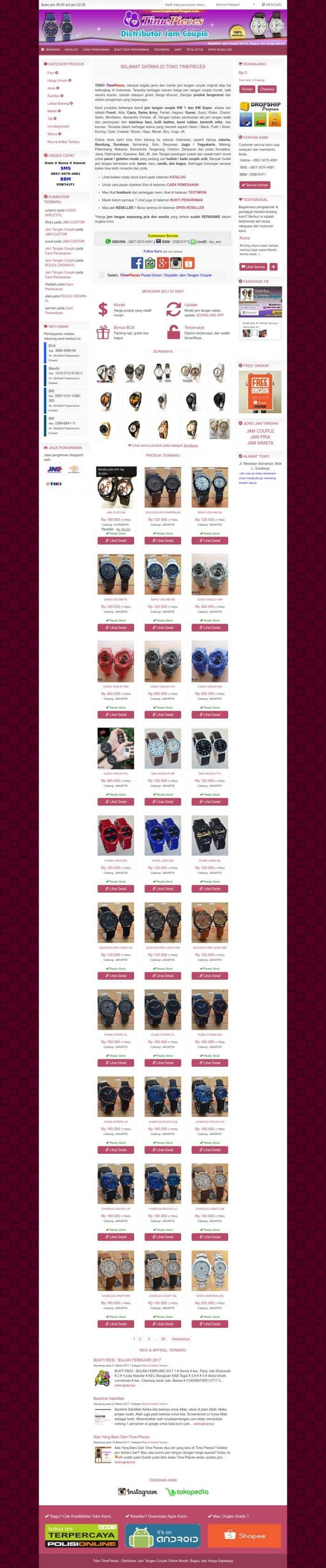 jasa pembuatan toko online jam tangan couple