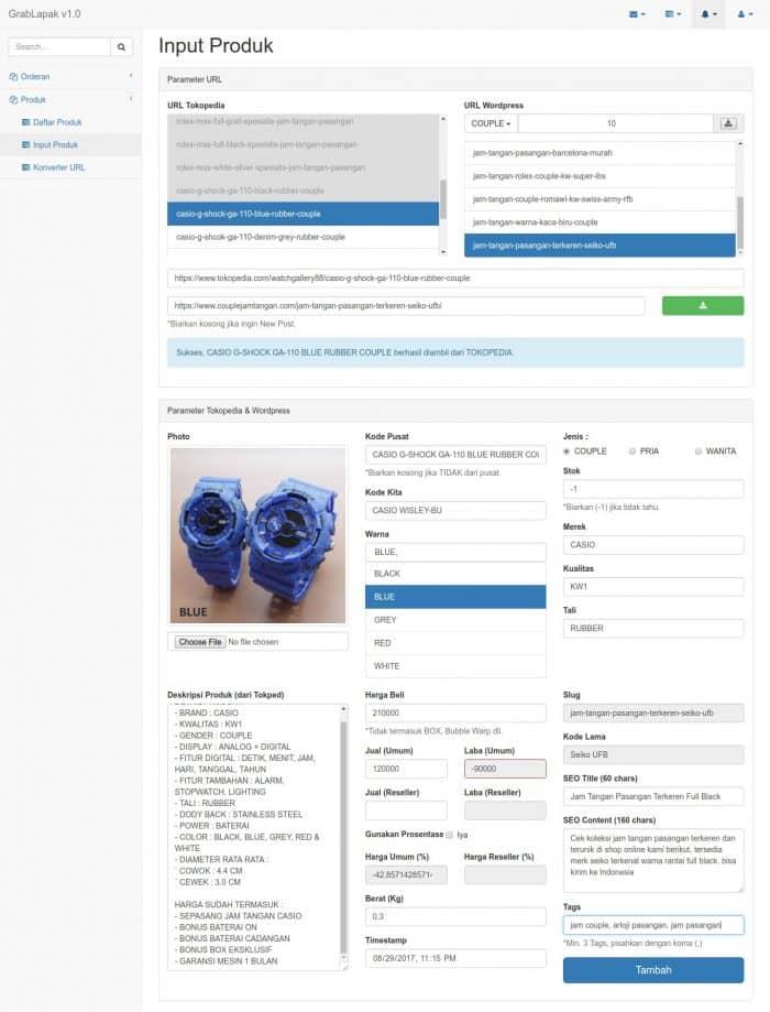 Aplikasi grabber toko online